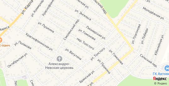 Переулок Толстого в Жуковке с номерами домов на карте. Спутник и схема онлайн