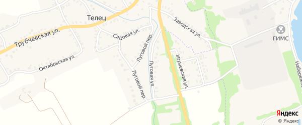 Луговая улица на карте деревни Тельца с номерами домов