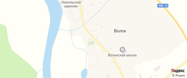 Зелёный переулок на карте деревни Волока Новгородской области с номерами домов