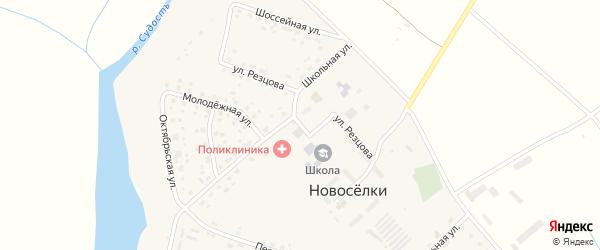 Улица Резцова на карте села Новоселки Брянской области с номерами домов