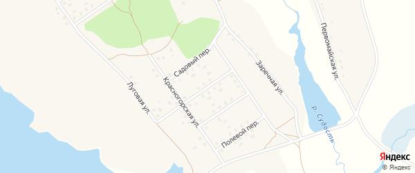 Красногорский переулок на карте села Новоселки Брянской области с номерами домов