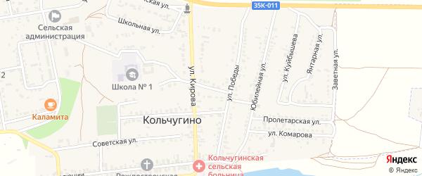 Переулок Победы на карте села Кольчугино Крыма с номерами домов