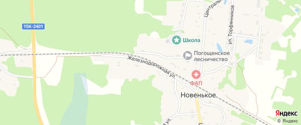 Железнодорожная улица на карте поселка Новенького с номерами домов