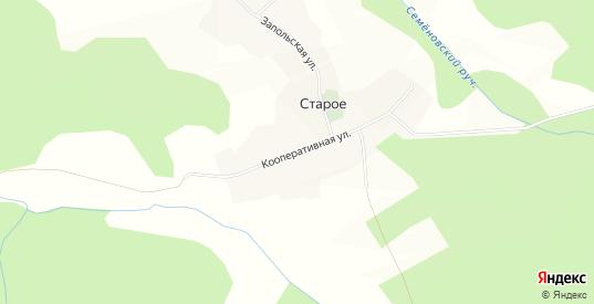 Карта деревни Старое в Тверской области с улицами, домами и почтовыми отделениями со спутника онлайн