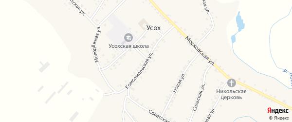 Комсомольская улица на карте села Усоха Брянской области с номерами домов