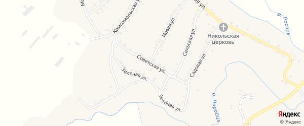 Советская улица на карте села Усоха Брянской области с номерами домов