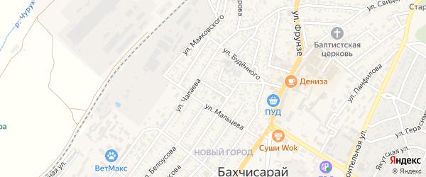 Улица Жуковского на карте Бахчисарая с номерами домов