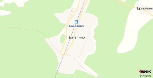 Карта деревни Баталино в Тверской области с улицами, домами и почтовыми отделениями со спутника онлайн
