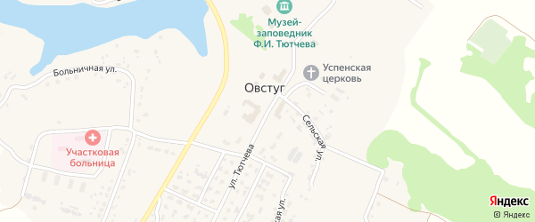 Улица Тютчева на карте села Овстуга с номерами домов