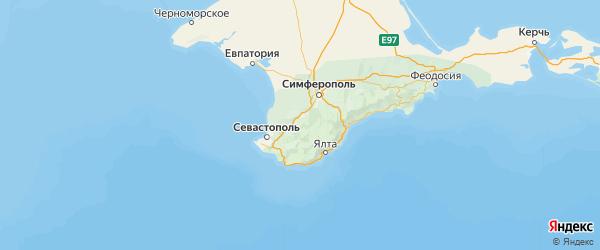 Карта Бахчисарайского района республики Крым с населенными пунктами и городами