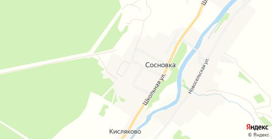 Карта поселка Сосновка в Тверской области с улицами, домами и почтовыми отделениями со спутника онлайн