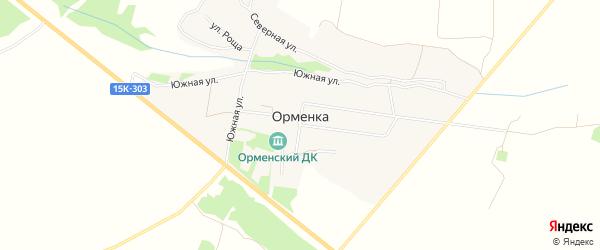 Карта деревни Орменки в Брянской области с улицами и номерами домов