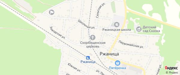 Зеленая улица на карте села Ржаницы с номерами домов