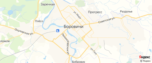 Карта Боровичей с районами, улицами и номерами домов