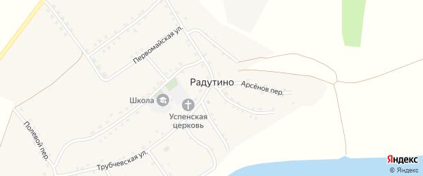 Чернобыльская улица на карте села Радутино Брянской области с номерами домов
