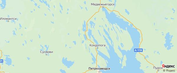 Карта Кондопожского района Республики Карелии с городами и населенными пунктами