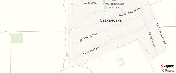 Улица Мичурина на карте села Стахановки Крыма с номерами домов