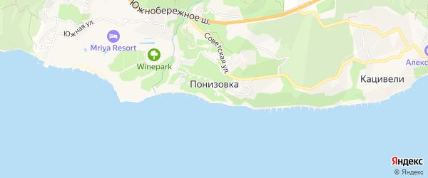 Карта поселка Понизовки города Ялты в Крыму с улицами и номерами домов