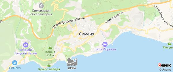 Карта поселка Симеиза города Ялты в Крыму с улицами и номерами домов