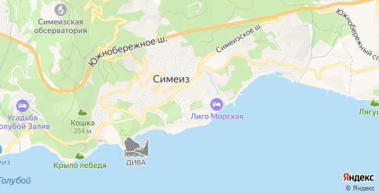 Карта поселка Симеиз в Ялте с улицами, домами и почтовыми отделениями со спутника онлайн