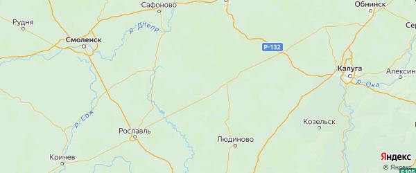 Карта Спас-деменского района Калужской области с городами и населенными пунктами