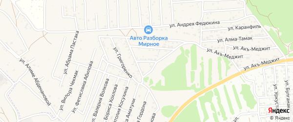 Переулок Муса-Мамут на карте Мирного села Крыма с номерами домов