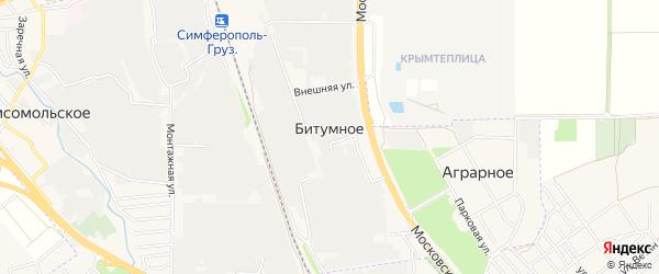 Карта поселка Битумного города Симферополя в Крыму с улицами и номерами домов