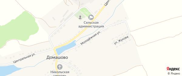Молодежная улица на карте села Домашово с номерами домов