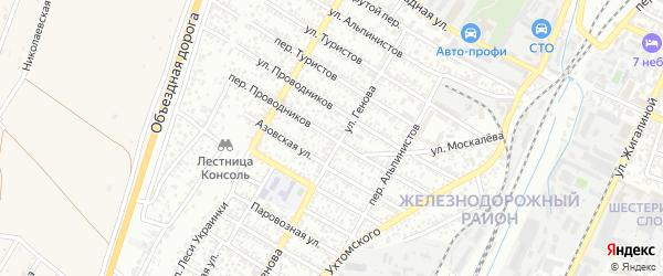 Переулок Проводников на карте Симферополя с номерами домов