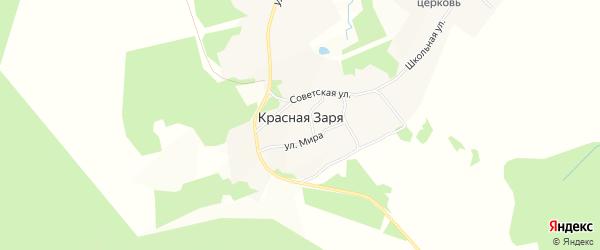 Карта поселка Красной Зари города Вышнего Волочка в Тверской области с улицами и номерами домов