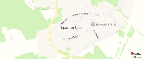 Спортивная улица на карте поселка Красной Зари с номерами домов