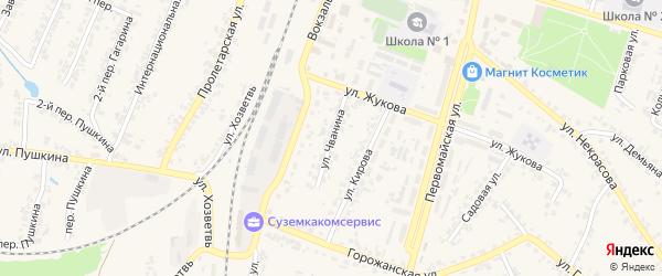 Улица Чванина на карте поселка Суземки с номерами домов