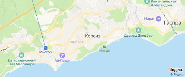 Карта поселка Кореиза города Ялты в Крыму с улицами и номерами домов