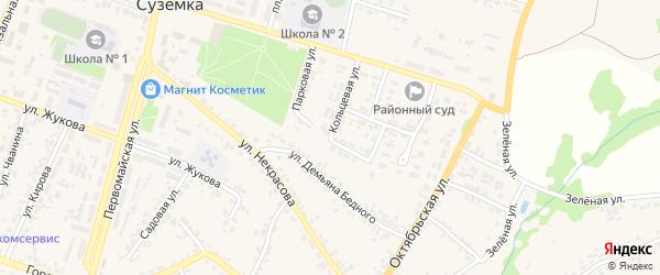 Полевая улица на карте поселка Суземки Брянской области с номерами домов