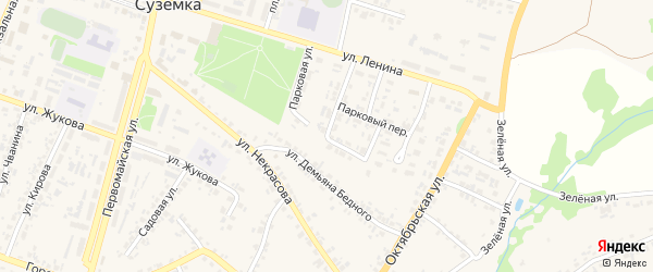 Полевая улица на карте поселка Суземки с номерами домов