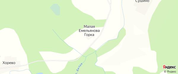 Карта деревни Малая Емельянова Горка в Тверской области с улицами и номерами домов
