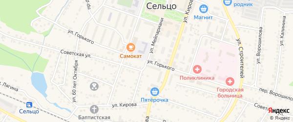 Улица Горького на карте Сельца с номерами домов