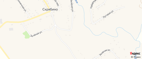 Зеленая улица на карте деревни Скрябино с номерами домов