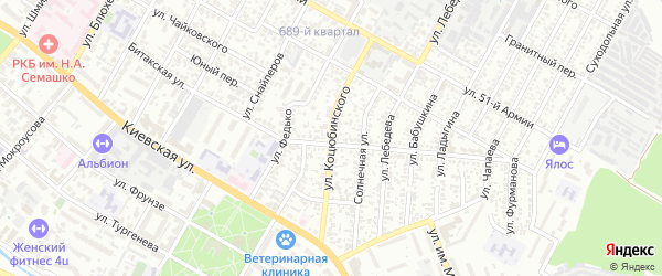 Улица Коцюбинского на карте Симферополя с номерами домов