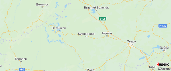 Карта Кувшиновского района Тверской области с городами и населенными пунктами