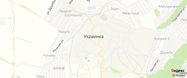 Карта села Украинки в Крыму с улицами и номерами домов