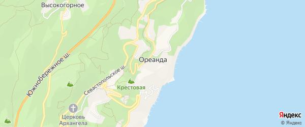 Карта поселка Ореанды города Ялты в Крыму с улицами и номерами домов