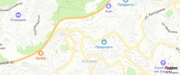 Улица Тимирязева на карте Ялты с номерами домов