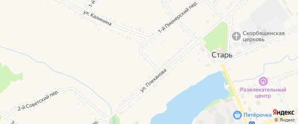 Переулок Плеханова на карте поселка Стари Брянской области с номерами домов