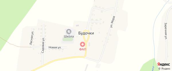 Центральная улица на карте деревни Будочки с номерами домов