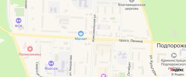 Коммунальный переулок на карте Подпорожья с номерами домов
