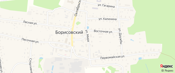 Улица Мира на карте Борисовского поселка Тверской области с номерами домов
