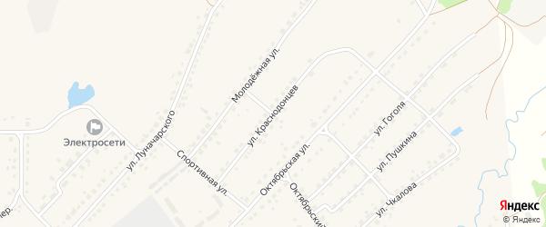 Улица Краснодонцев на карте поселка Стари Брянской области с номерами домов