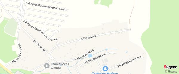 Улица Гагарина на карте деревни Глаженки с номерами домов