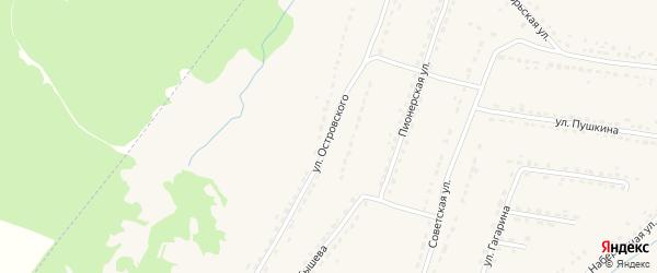 Улица Островского на карте поселка Ивота с номерами домов